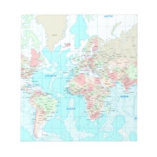 Mapa del mundo libreta para notas