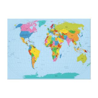 Mapa del mundo brillante impresiones en lienzo estiradas