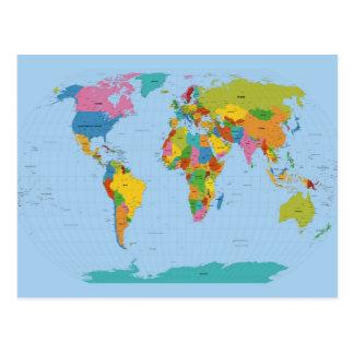Mapa del mundo brillante postal