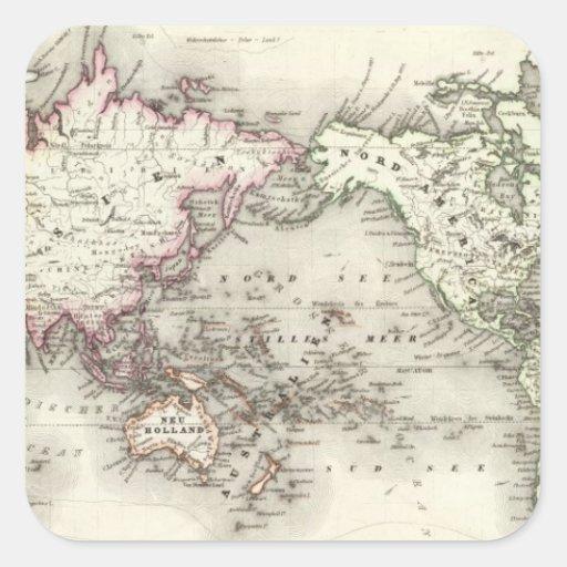 Mapa del mundo calcomania cuadradas personalizadas