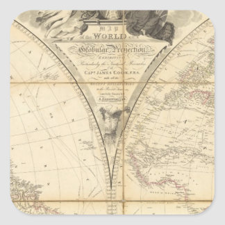 Mapa del mundo calcomanías cuadradas