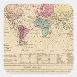 Mapa del mundo calcomanías cuadradases