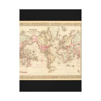 Mapa del mundo canoso 23 impresión de lienzo