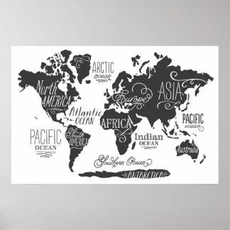 Mapa del mundo caprichoso póster