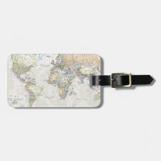 Mapa del mundo clásico etiqueta de maleta