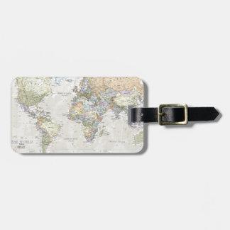 Mapa del mundo clásico etiquetas para maletas
