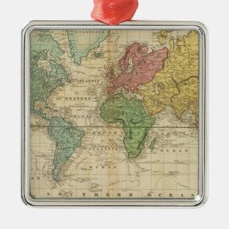 Mapa del mundo colorido adorno navideño cuadrado de metal