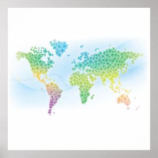 Mapa del mundo colorido del trébol póster