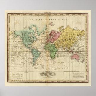 Mapa del mundo colorido poster