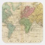 Mapa del mundo colorido pegatina cuadrada