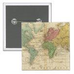 Mapa del mundo colorido pin cuadrada 5 cm