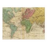 Mapa del mundo colorido postales