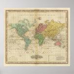 Mapa del mundo colorido póster