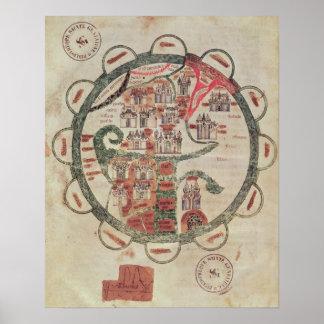 Mapa del mundo con Jerusalén en el centro Póster
