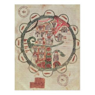 Mapa del mundo con Jerusalén en el centro Tarjeta Postal