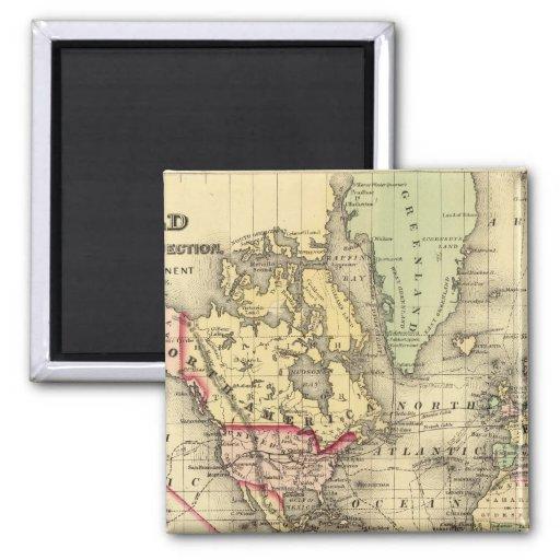 Mapa del mundo con las rutas marítimas de los expl imán de frigorifico