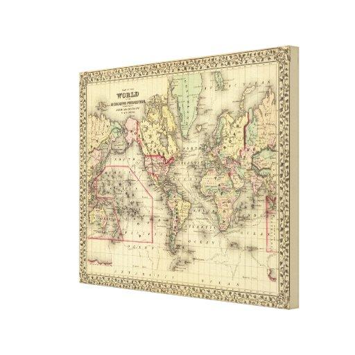 Mapa del mundo con las rutas marítimas de los expl impresiones de lienzo