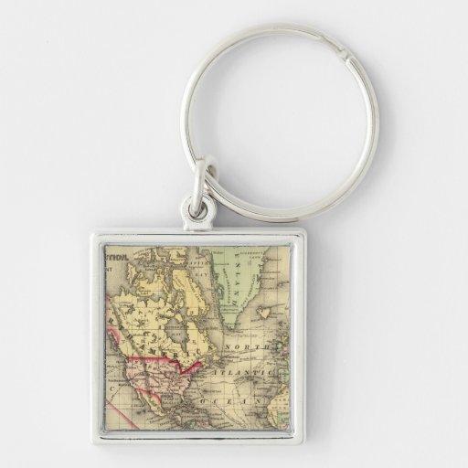 Mapa del mundo con las rutas marítimas de los expl llavero personalizado