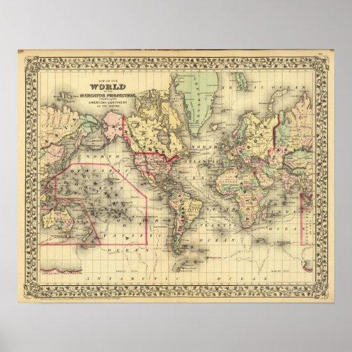 Mapa del mundo con las rutas marítimas de los expl posters