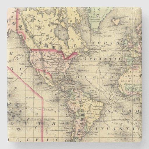 Mapa del mundo con las rutas marítimas de los expl posavasos de piedra