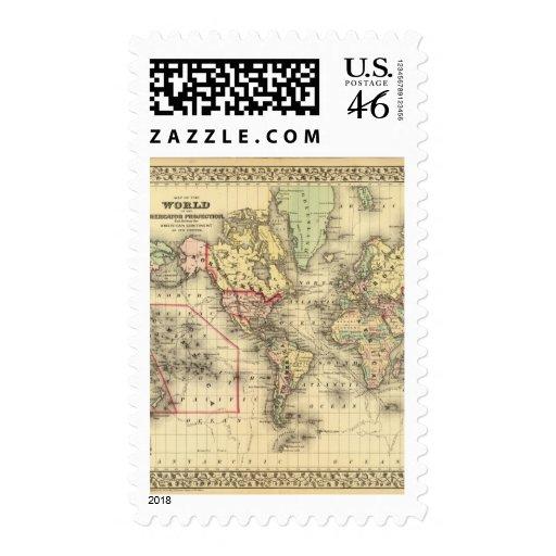 Mapa del mundo con las rutas marítimas de los expl sellos