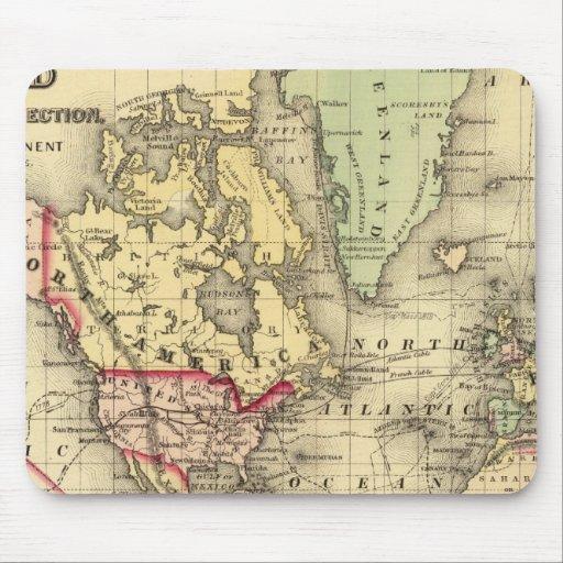 Mapa del mundo con las rutas marítimas de los expl alfombrilla de raton