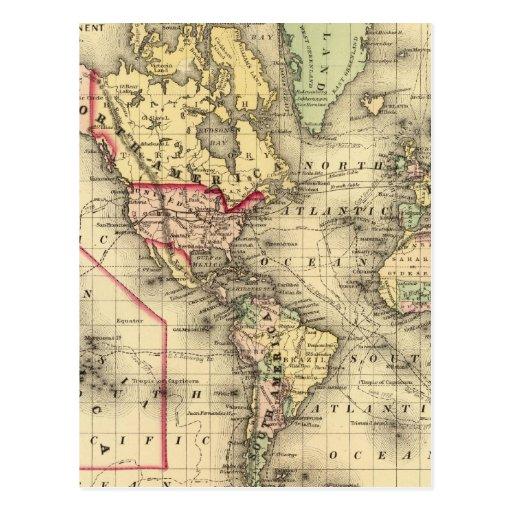 Mapa del mundo con las rutas marítimas de los expl tarjeta postal