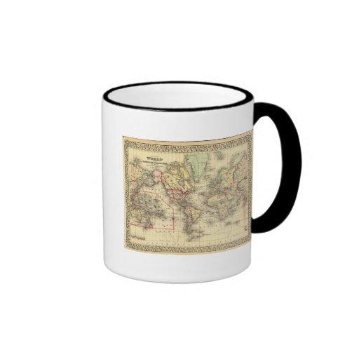 Mapa del mundo con las rutas marítimas de los expl taza de café