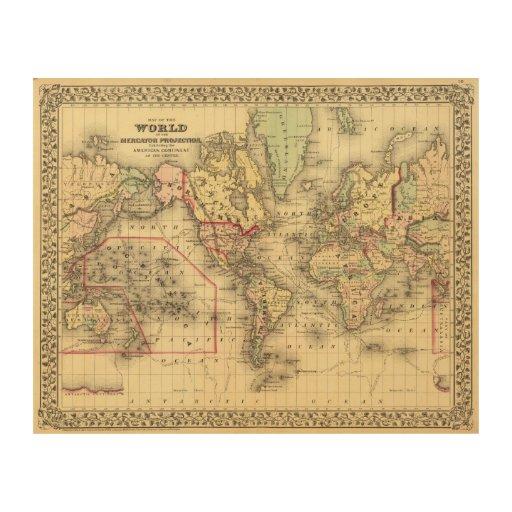Mapa del mundo con las rutas marítimas de los expl impresión en madera