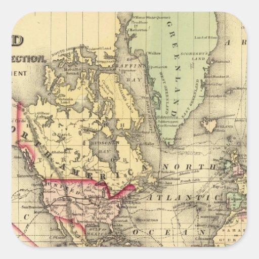 Mapa del mundo con las rutas marítimas de los pegatina cuadradas