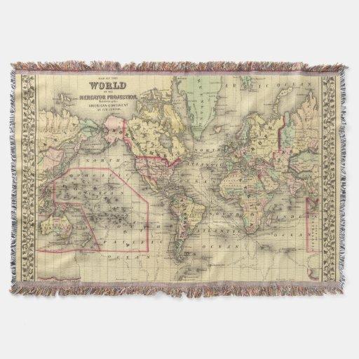 Mapa del mundo con las rutas marítimas de los manta