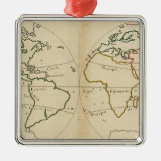 Mapa del mundo con las zonas tropicales adorno navideño cuadrado de metal