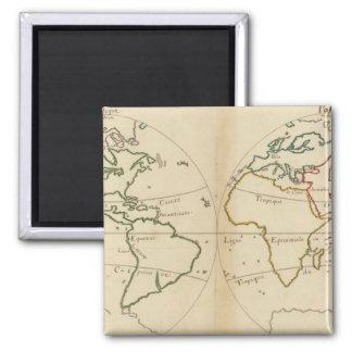 Mapa del mundo con las zonas tropicales imán cuadrado