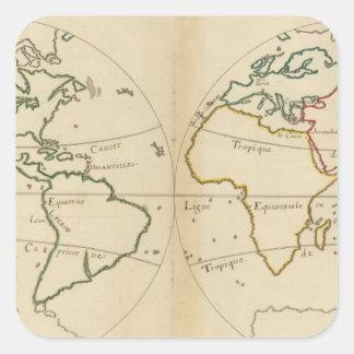 Mapa del mundo con las zonas tropicales pegatina cuadrada
