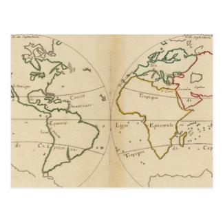 Mapa del mundo con las zonas tropicales postal