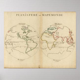 Mapa del mundo con las zonas tropicales póster