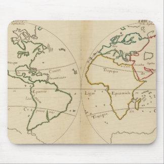 Mapa del mundo con las zonas tropicales tapetes de ratones