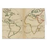 Mapa del mundo con las zonas tropicales tarjeta de felicitación