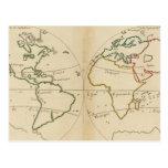 Mapa del mundo con las zonas tropicales tarjeta postal