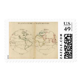 Mapa del mundo con las zonas tropicales timbres postales