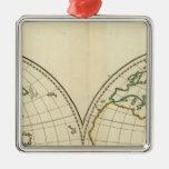 Mapa del mundo con latitud y Longititude Adorno Navideño Cuadrado De Metal
