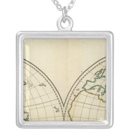 Mapa del mundo con latitud y Longititude Colgante