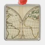 Mapa del mundo con latitud y Longititude Ornamente De Reyes