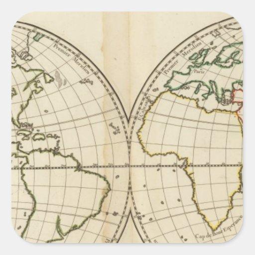 Mapa del mundo con latitud y Longititude Colcomanias Cuadradas Personalizadas