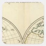Mapa del mundo con latitud y Longititude Pegatina Cuadrada