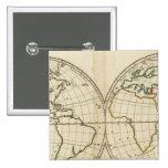 Mapa del mundo con latitud y Longititude Pin Cuadrado