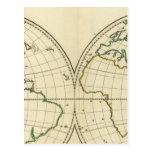 Mapa del mundo con latitud y Longititude Postales