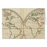 Mapa del mundo con latitud y Longititude Tarjeta De Felicitación