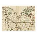 Mapa del mundo con latitud y Longititude Tarjetas Postales