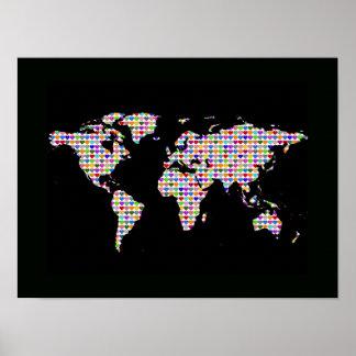 mapa del mundo con los corazones coloridos póster
